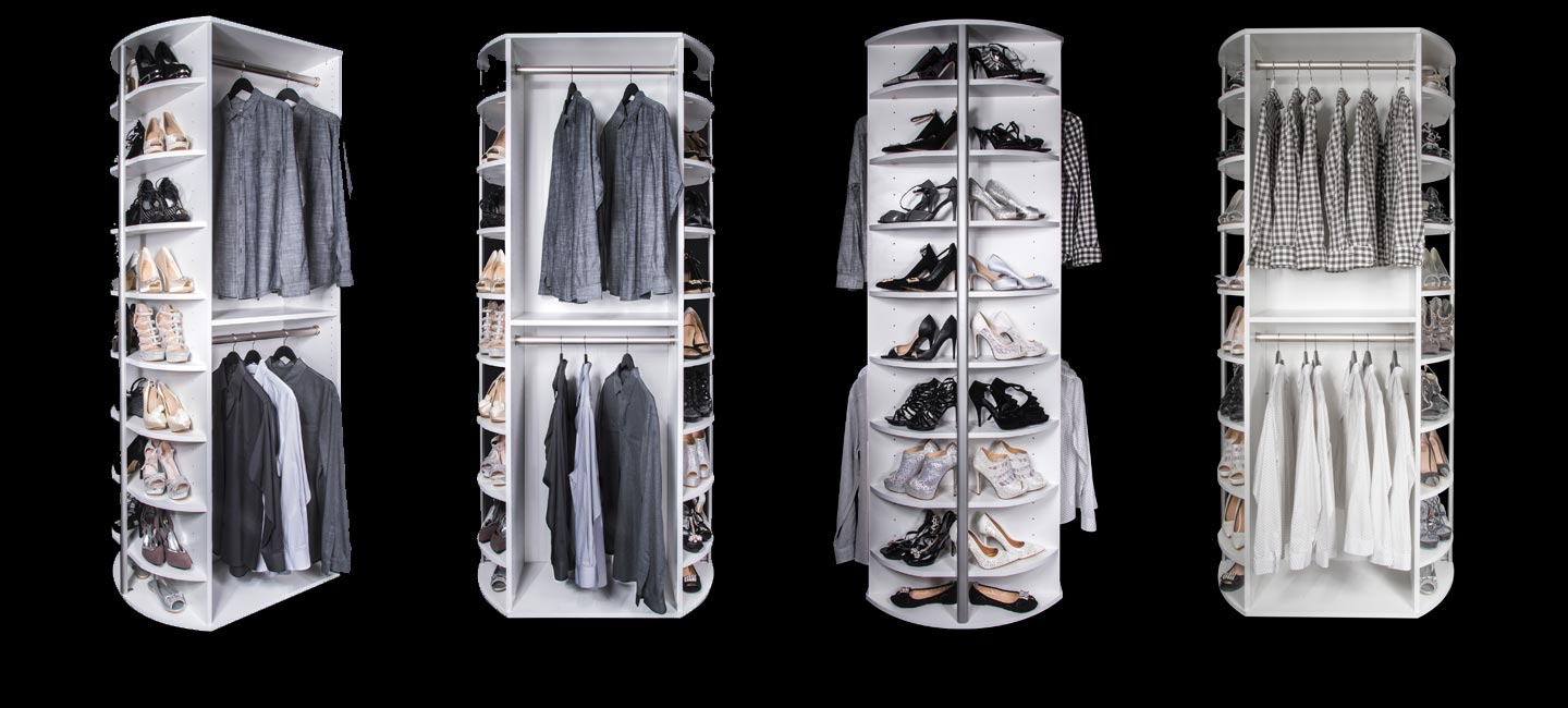 Rotating closet rack includes 4 sides of rotating storage