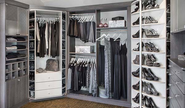 Custom walk-in closet designs with shoe spinner and valet 360 organizers by Lazy Lee