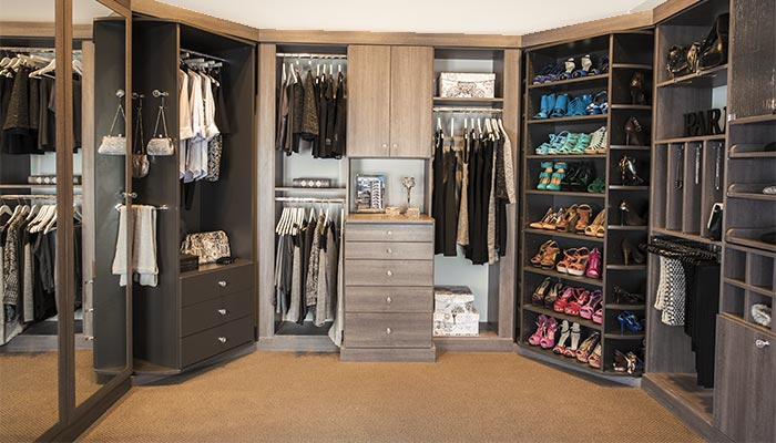 Custom Walk In Closet Design With 360 Organizer Shoe Spinner And Valet