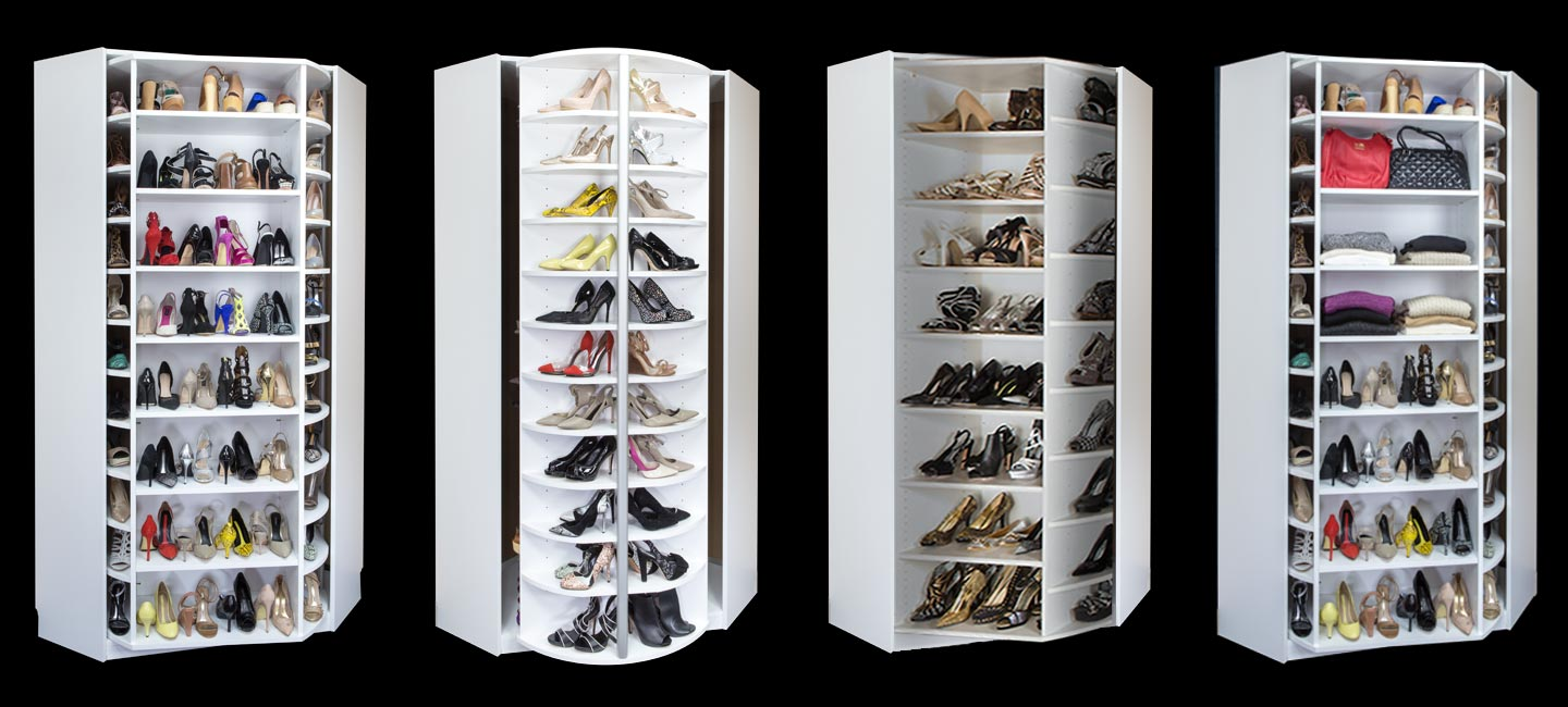 360 rotating shoe closet with cabinet and custom shoe rack