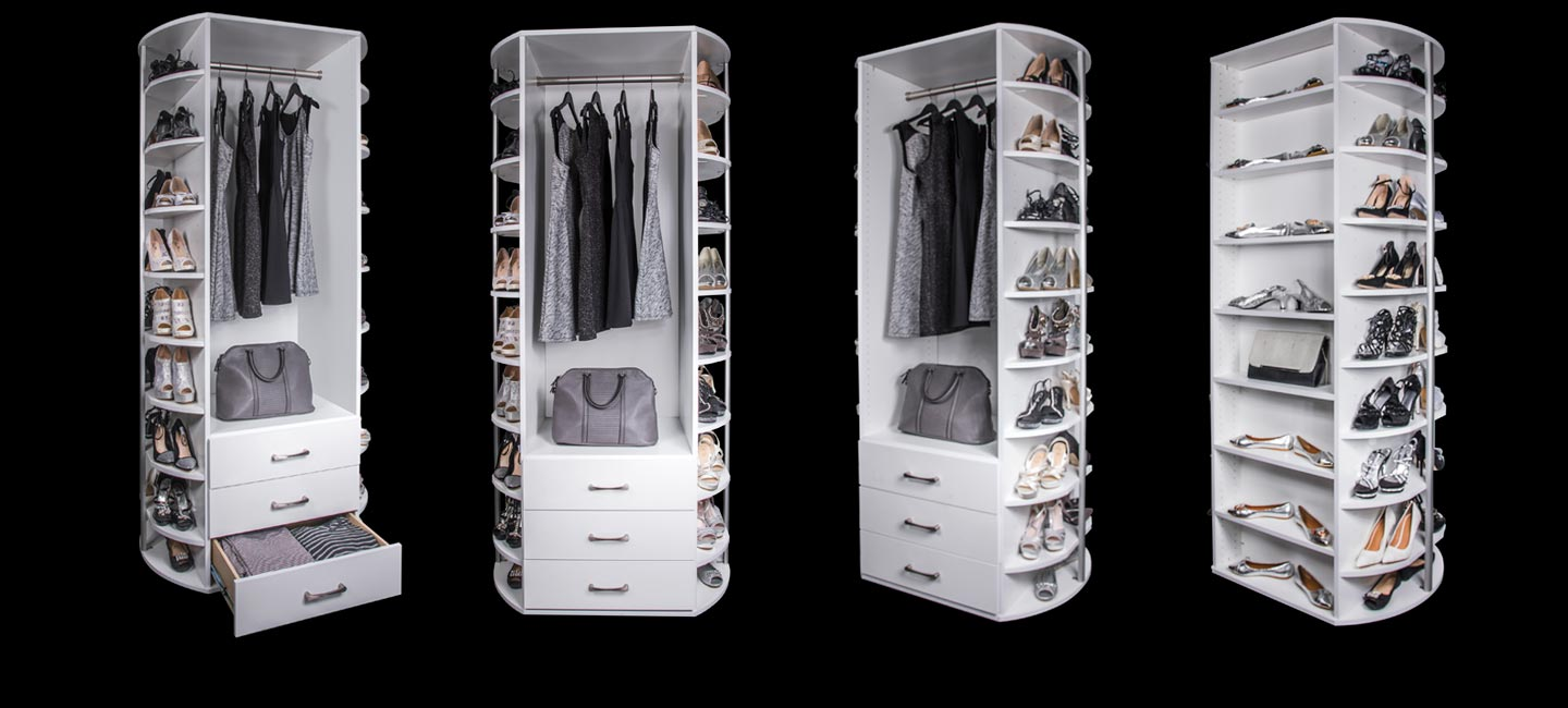 The 360 Organizer Valet includes 4 sides of rotating storage