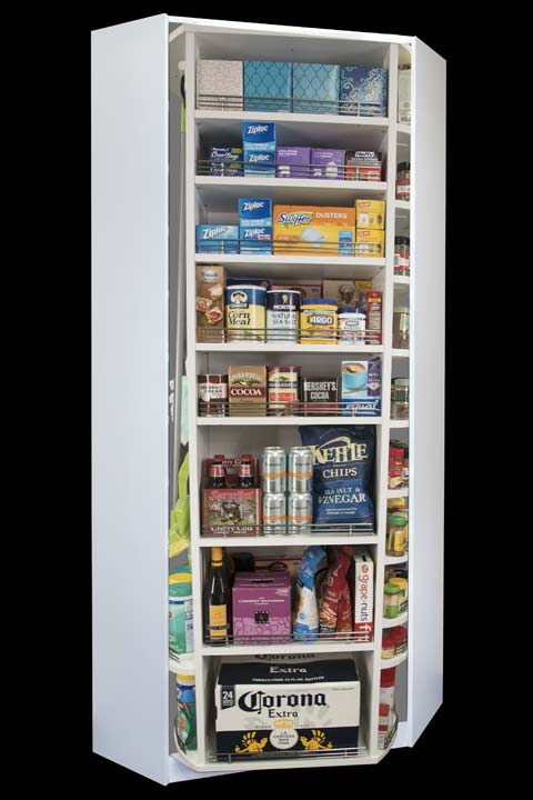 Four sided rotating pantry storage by Lazy Lee that fits in corner