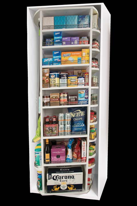 Four sided rotating pantry storage by Lazy Lee that fits on wall