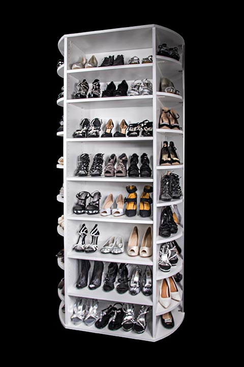Four sided rotating shoe storage organizer By Lazy Lee