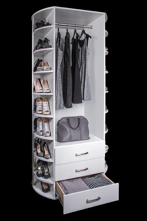 Drawers and hanging with three sided shoe organizer By Lazy Lee