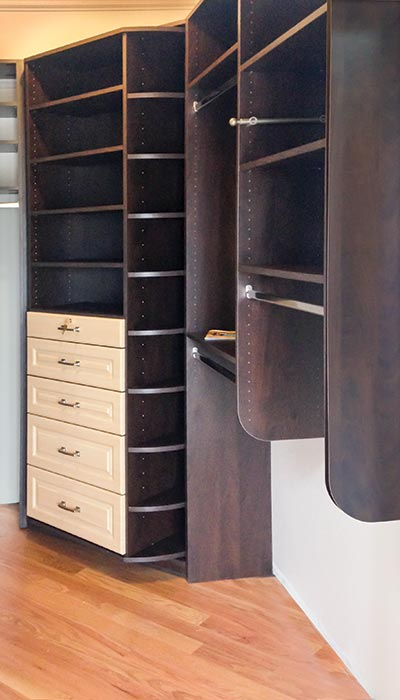 Closet organization system in Cocoa TFL with 360 Organizer and Symphony Doors