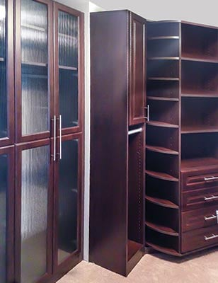 custom closet 360 Organizer valet system with reeded glass