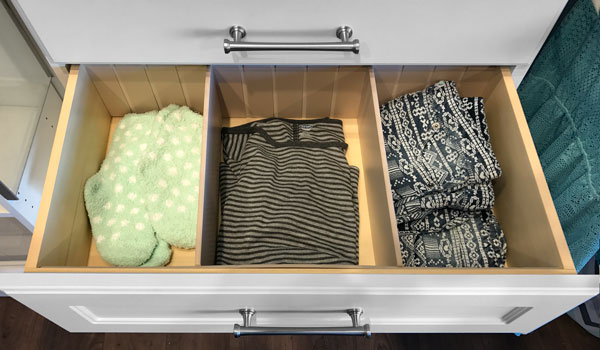 Drawer Divider for 18, 24 and 30 Inch Drawers Used in a custom closet system