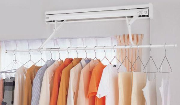 clothes drying rack pulls out from wall