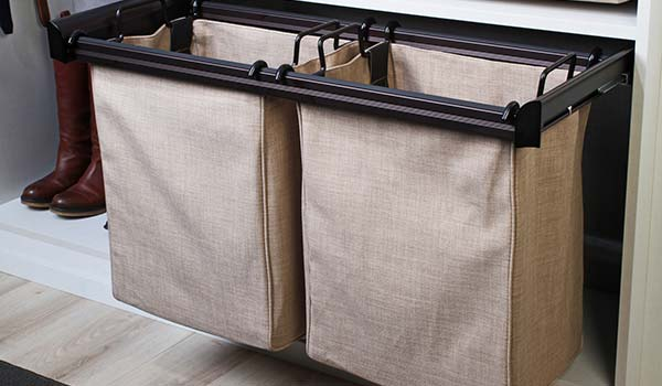 Closet Works premium pull out double bag built in hamper