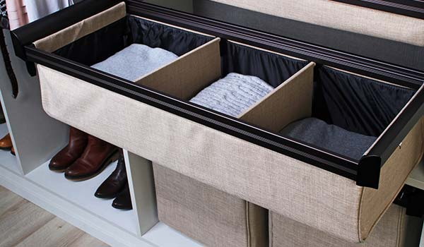 Closet Accessories - Divided Pull-Out Cloth Drawer