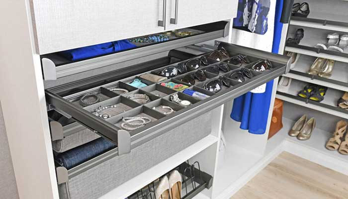 Slate gray hardware trend for closets and kitchens
