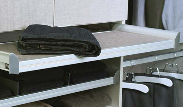 Closet accessories pull-out folding table for custom closet system