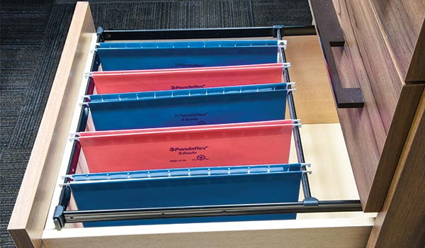 A good file drawer will help to cut clutter