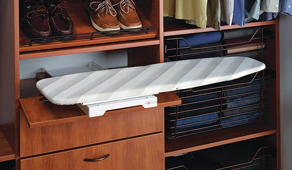 Drawer ironing board closet accessories for custom closet system