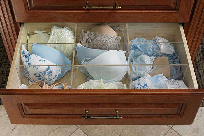 Closet Works Acrylic Drawer Divider organizes lingerie