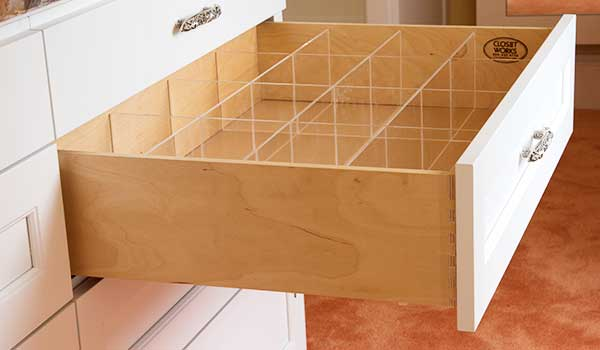 Drawer lingerie divider closet accessories for use in a custom closet organization system