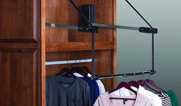 Motorized Pull Down Closet Rod With Extender Raises And Lowers Hanging  Clothes Electronically