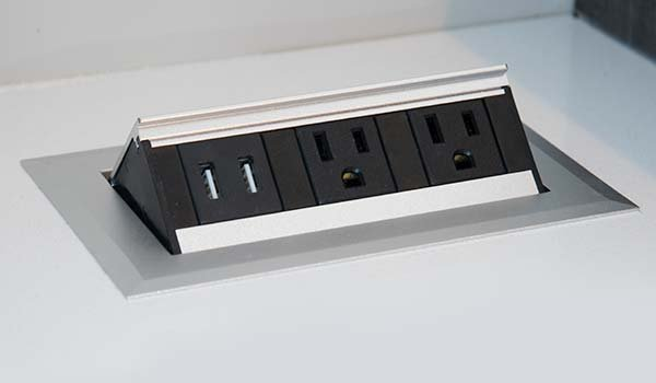 pop up usb and power outlet charging station