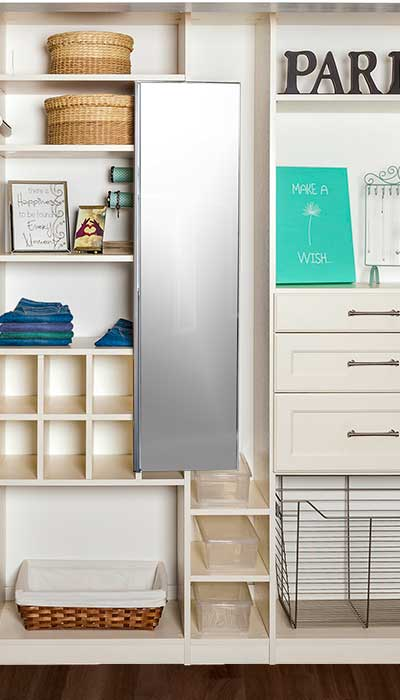 Closet organizers for a bedroom reach-in closet