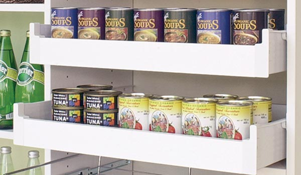 Pull out shelves as custom food pantry organizers or butlers pantry