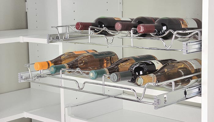 Pull out wine rack for corner pantry kitchen closet