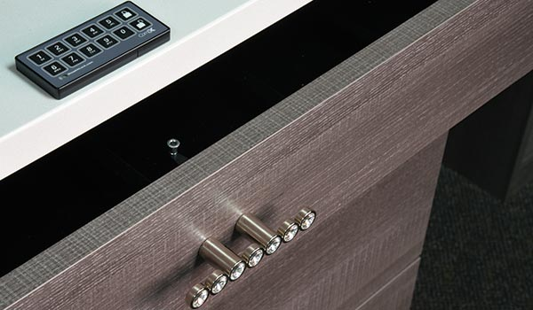 Stealth keyless drawer lock with keypad for locking valuables away