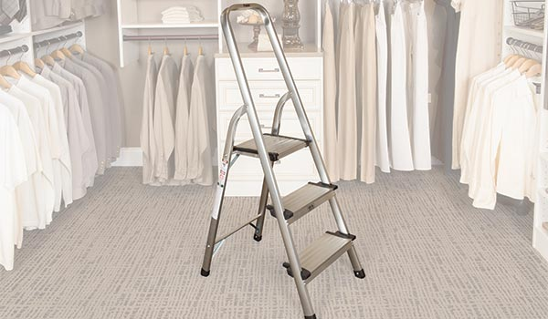 Closet accessories step ladder for accessing the top shelf in a custom closet system