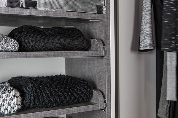 pull-out sweater shelves for walk in closet organization