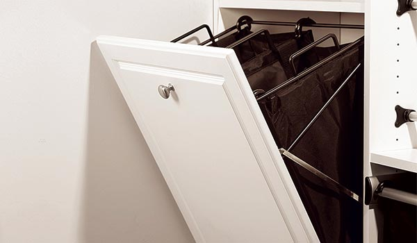 Closet Works tilt out built in hamper cloth bag hamper