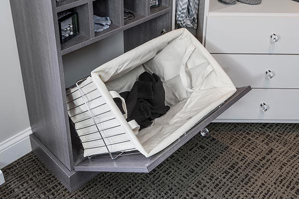 Tilt-out wire hamper with canvas liner for walk in closet organization