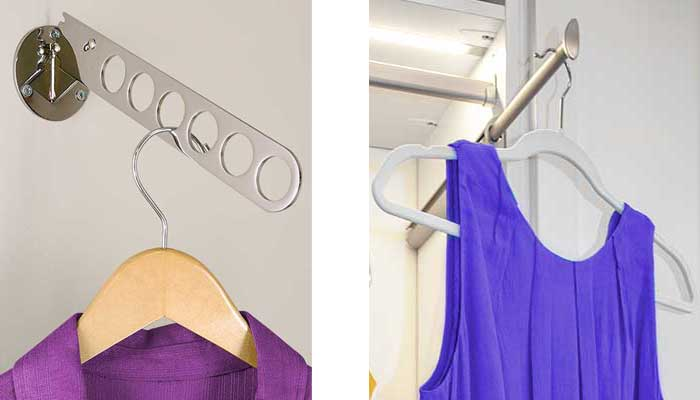 Valet pole accommodates hangers for small laundry rooms without clothes rods