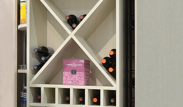Wine cube for storing wine in the pantry or home wet bar
