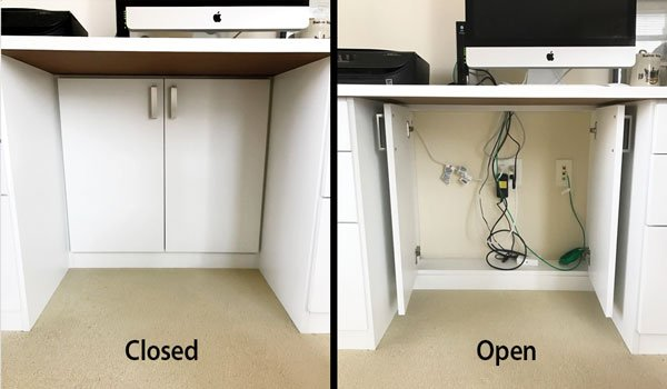 Cabinet doors for wire management