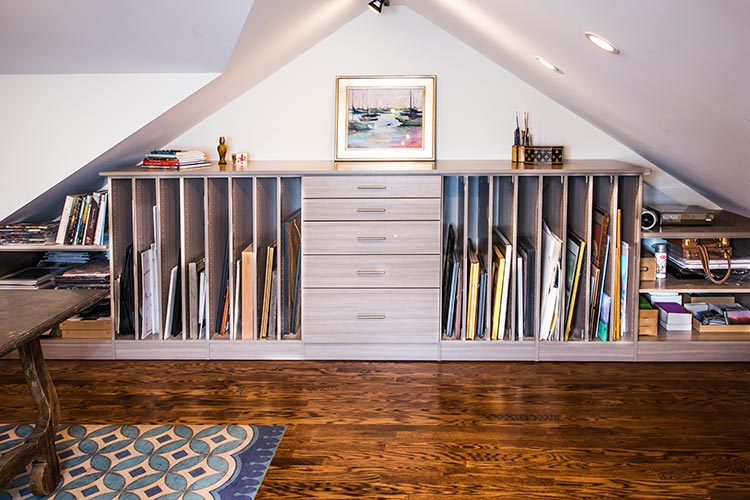 Art Studio Storage For Converted Attic With Slanted Ceiling