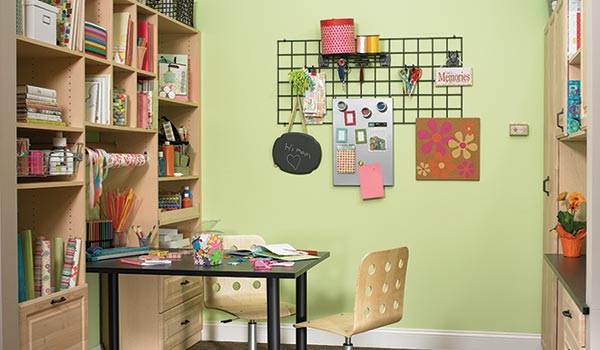Custom craft room ideas for scrap book organization system with built-in desk