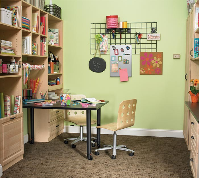 Home organization ideas include combining craft storage with homework space.