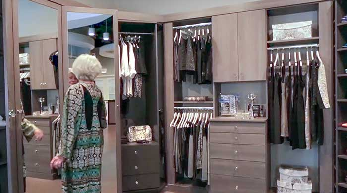 Walk-in closet with 3-way mirror made from cabinet doors