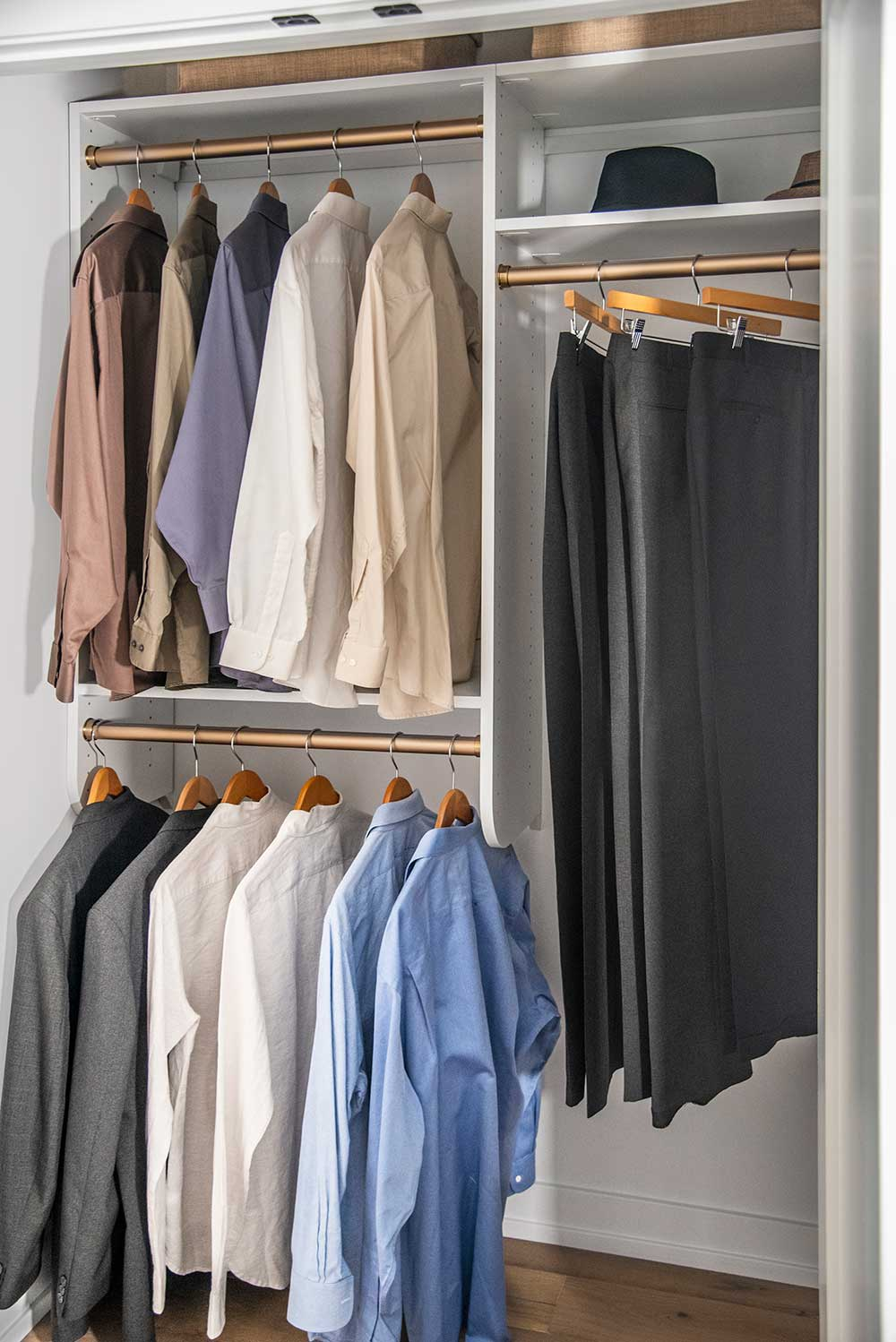 Reach-in closet with high quality wooden hangers