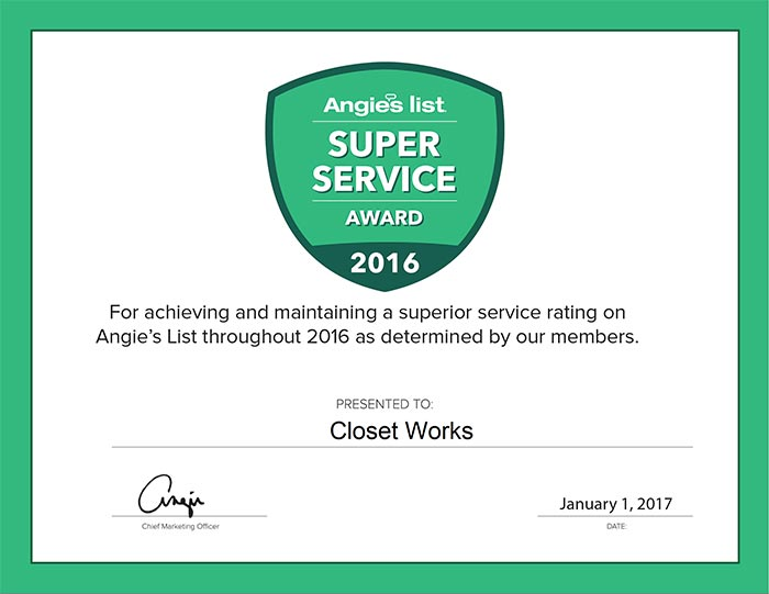 Closet Works wins the Angies List Super Service Award for 2016