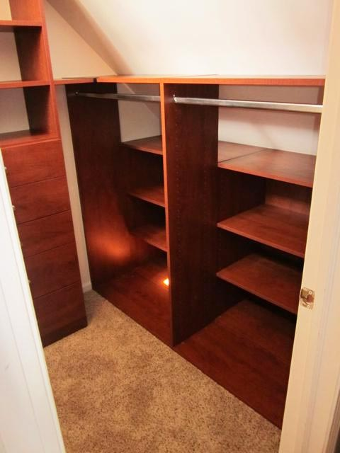 custom closet solution for angled and sloped ceiling