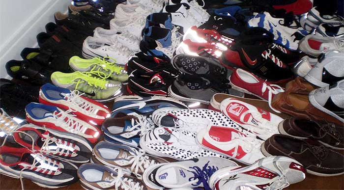 athletic shoes in a variety of colors
