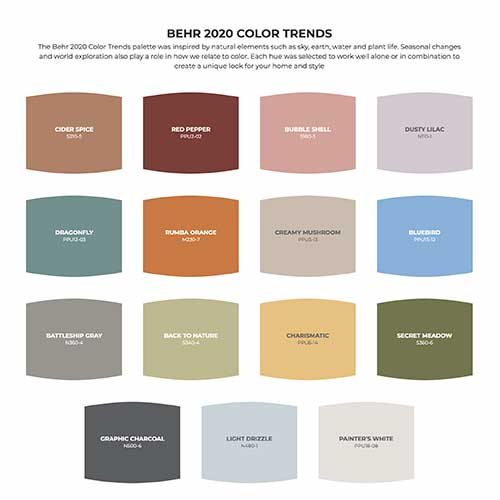 Interior color trends 2020 from Behr paint
