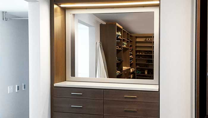Built-in dresser with closet mirror