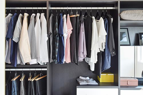 clean and organized closet without clutter