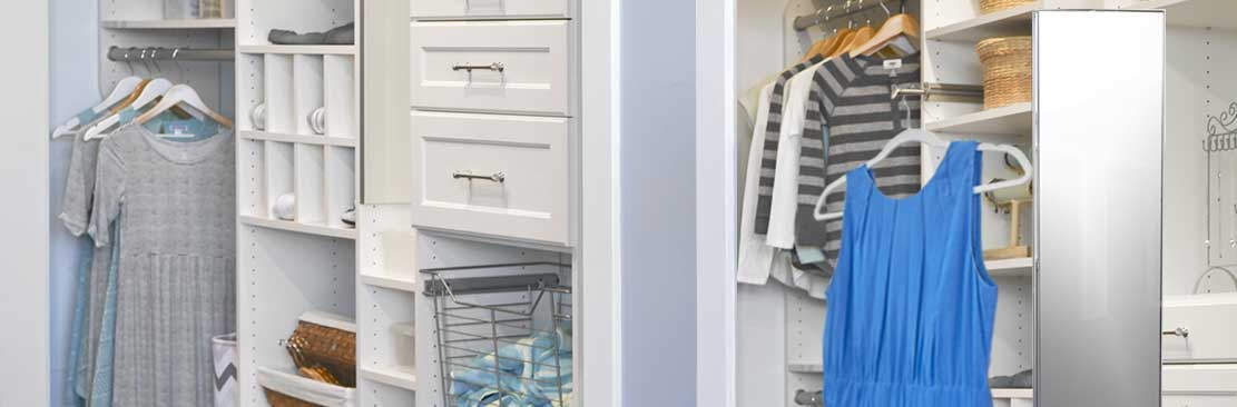 Reach-in closet for bedroom with closet accessories