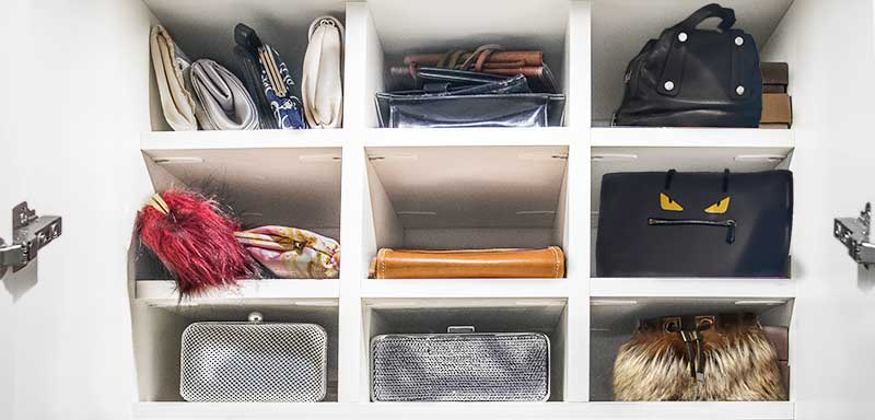 Closet cubby organizer for purses