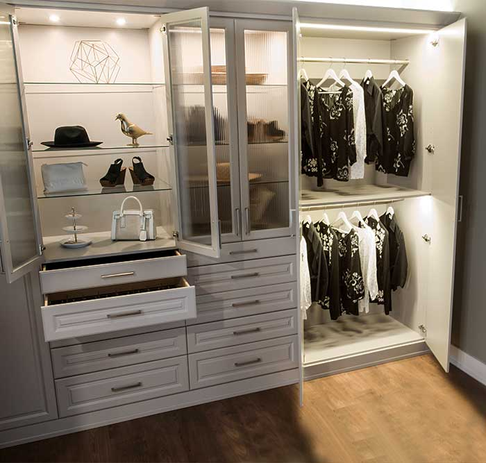 wardrobe style closet with LED closet lighting system