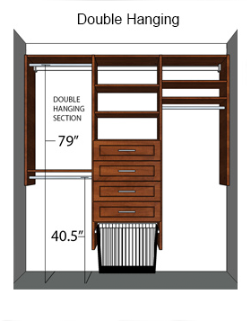 closet remodeling with double hang closet section