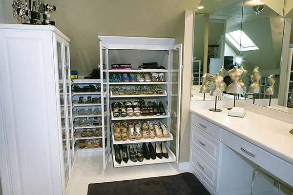 Walk-in closet shoe storage design reviewed on yelp.com